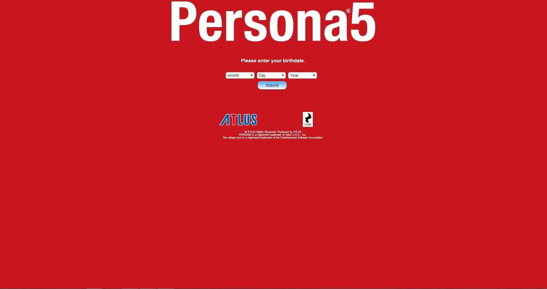 Atlus USA Persona 5 age gate.