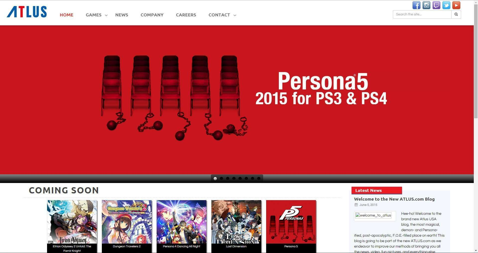 The new design of the official Atlus USA website.