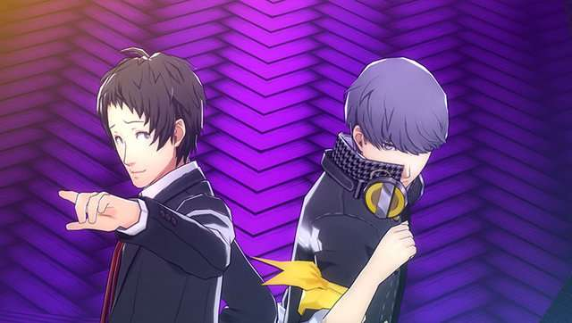 Adachi and Yu screenshot in Persona 4: Dancing All Night.