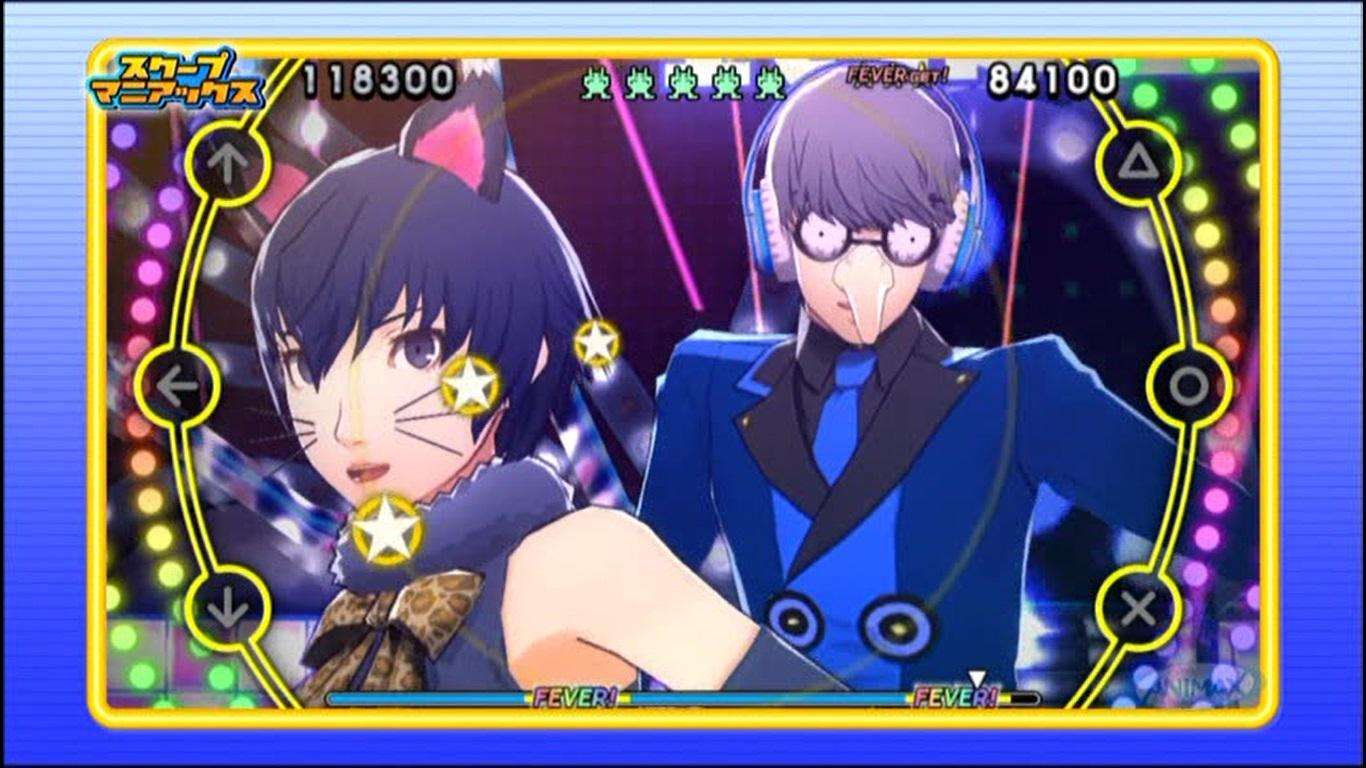 Naoto's cat costume and Yu Narukami with an Igor mask in P4D.