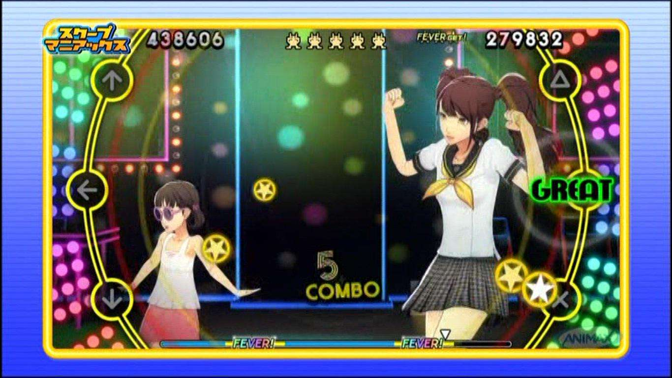 Nanako wearing sunglasses and Rise Kujikawa wearing her school uniform in P4D.