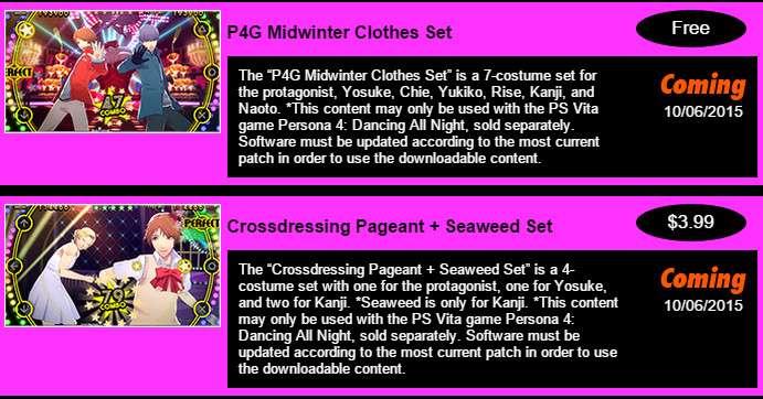 P4D Costumes October 6 DLC