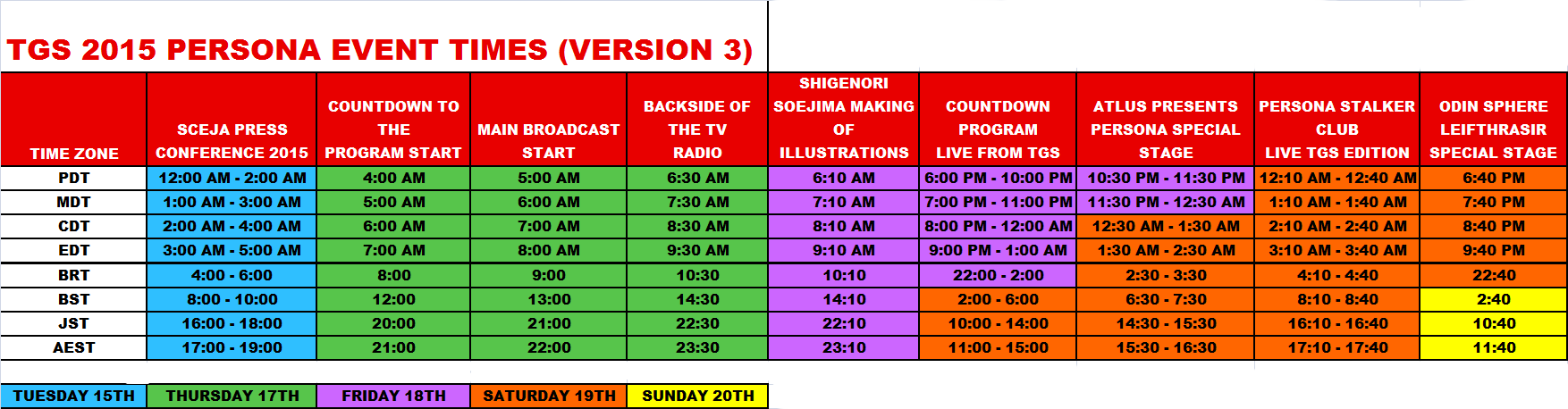 Schedule Version 3