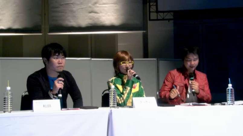 Kazuhisa Wada (far left) commentating during the Toshin Festival 2015 Persona 4 Arena Ultimax tournament.