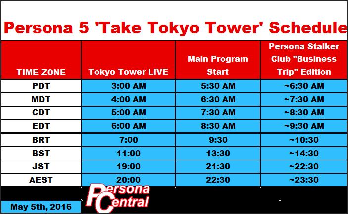 P5 Tokyo Tower Schedule