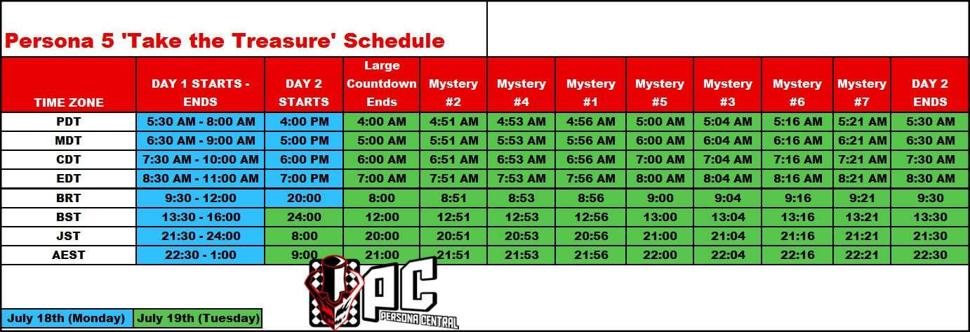 P5 Take the Treasure Schedule
