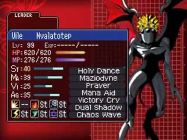 "caption: ""Nyalatotep, the Craling Kaos""; the original DS version of Devil Survivor had even stricter character limits than Nocturne."