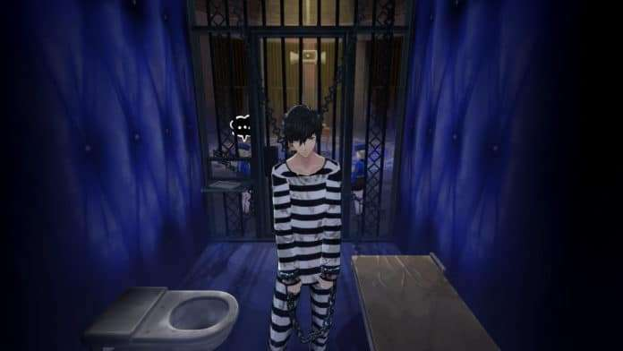 The Persona 5 protagonist, despondent in his Velvet Room jail cell.
