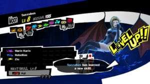 The element and ability menu for Persona 5's succubus.