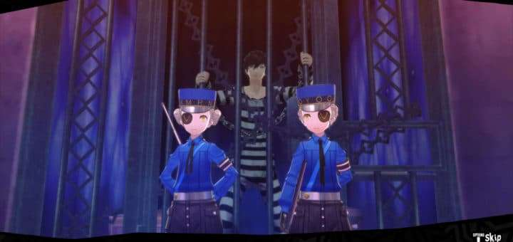 Persona 5 Velvet Room attendants guarding the protagonist's prison cell.