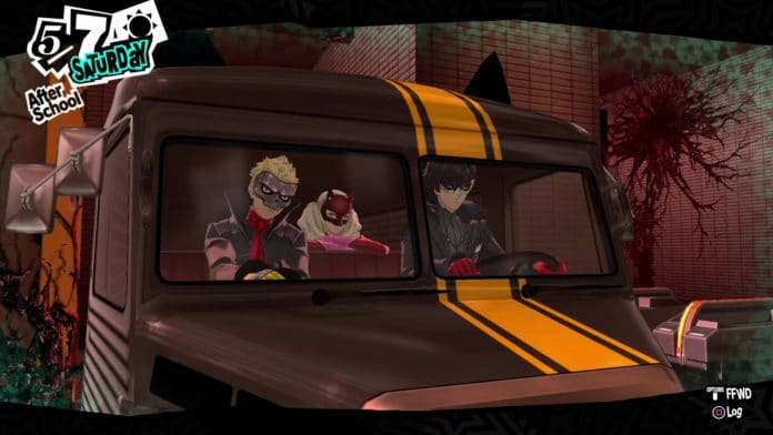 Phantom Thieves riding the Morgana car in Mementos.