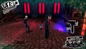 The Persona 5 Phantom Thieves at the Castle Gate.