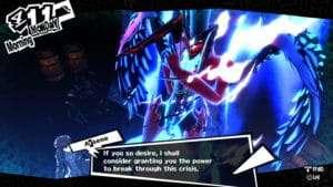 Persona 5 protagonist awakening to Arsene.