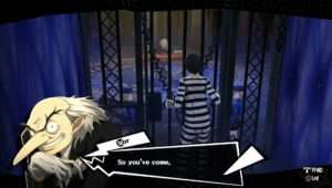 The Persona 5 protagonist in his Velvet Room prison, talking with Igor.